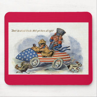 Teddy Roosevelt & Uncle Sam in Patriotic Auto Mouse Pad