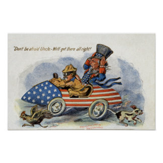 Teddy Roosevelt & Uncle Sam in Patriotic Auto Poster
