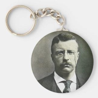 Teddy Roosevelt Vintage Glass Magic Lantern Slide Basic Round Button Keychain