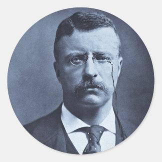 Teddy Roosevelt Vintage Glass Magic Lantern Slide Classic Round Sticker