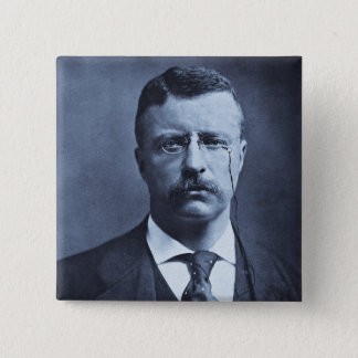 Teddy Roosevelt Vintage Glass Magic Lantern Slide Pinback Button