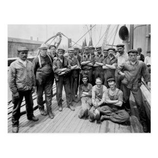 Teddy Roosevelt with Crew, early 1900s Postcard