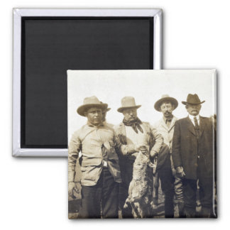 Teddy Roosevelt Wolf Hunting, 1905 2 Inch Square Magnet