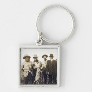 Teddy Roosevelt Wolf Hunting, 1905 Silver-Colored Square Keychain