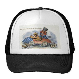 Teddy Roosevelt y tío Sam en auto patriótico Gorras