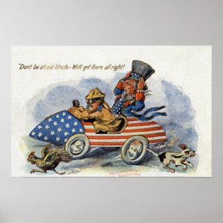 Teddy Roosevelt y tío Sam en auto patriótico Póster