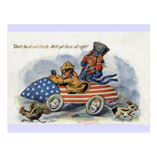 Teddy Roosevelt y tío Sam en auto patriótico Postales