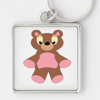 Teddy Silver-Colored Square Keychain