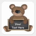 Teddy Teacher (chalkboard customizable) Square Stickers