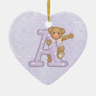 Teddy Tots Monogram A Christmas Ornaments