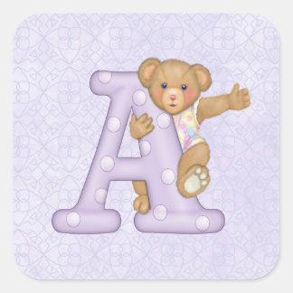 Teddy Tots Monogram A Square Sticker