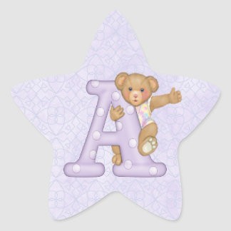 Teddy Tots Monogram A Star Sticker