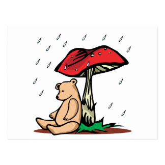 Teddy Under Toadstool Postcard