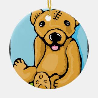 Teddy with a lobotomy ceramic ornament