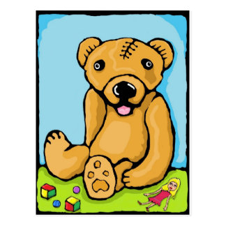 Teddy with a lobotomy postcard