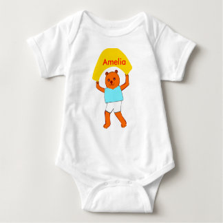 Teddy with banner Customize Product name logo Baby Bodysuit