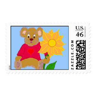 Teddy with Flower Stamp