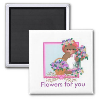 Teddy with flowers 2 inch square magnet