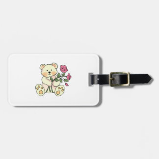 Teddy With Flowers Tags For Bags
