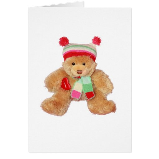 Teddy with heart greeting card