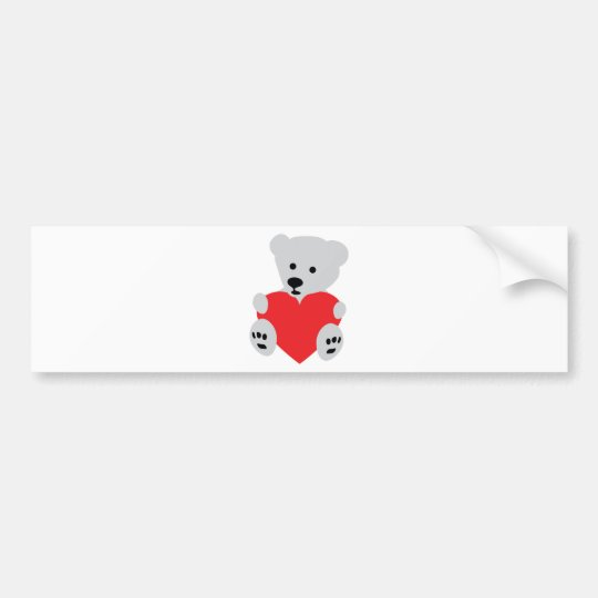 teddy with red heart bumper sticker