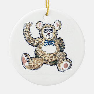 Teddy with Spotty Bow Ornament