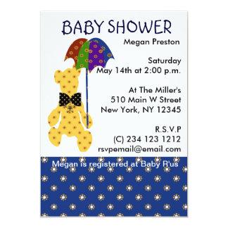 Teddy with Umbrella Baby Shower Card
