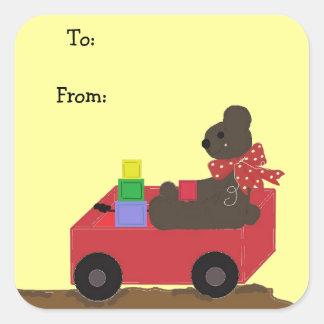 Teddybear in a Red Wagon Square Sticker