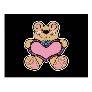 teddybear lindo con diseño del corazón tarjeta postal