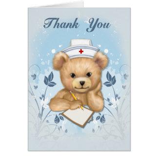 Teddybear Nurse Thank You Greeting Card