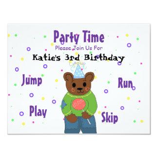 Teddybear Party Time Card