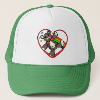 Teddybear rainbow trucker hat