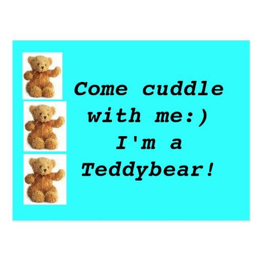 Teddybear viene postal de la abrazo