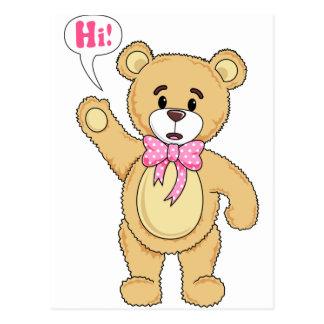 TeddyBearSayingHi.png Postcard