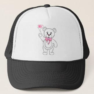 TeddyBearSayingHiWhite.png Trucker Hat