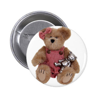 TeddyBearsHug100409 Pinback Button
