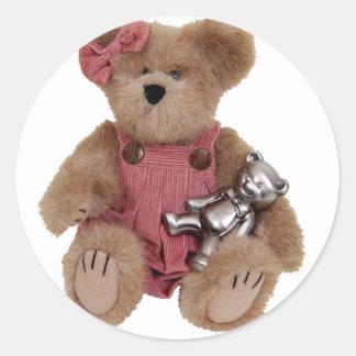 TeddyBearsHug100409 Round Stickers