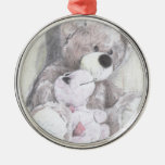 Teddy's best friend turtle round metal christmas ornament