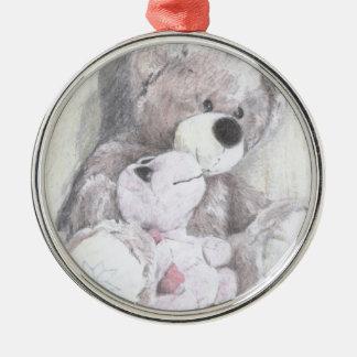 Teddy's best friend turtle round metal christmas ornament