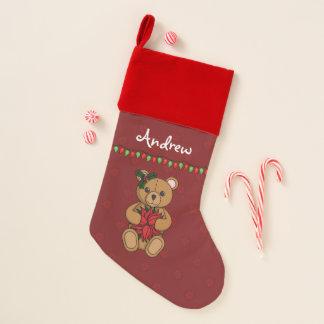 Teddy's Gift Velvet Lined Stocking