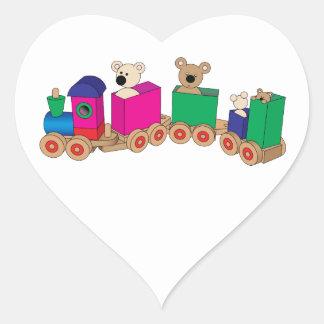 Teddy's Train Ride. Heart Sticker