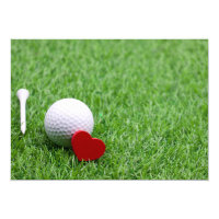 Tee and golf ball  with love heart on green grass invitation