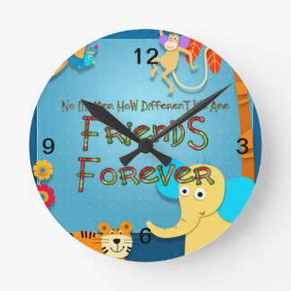 TEE Animal Friends Round Clock