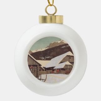TEE Austrian Winter Ceramic Ball Christmas Ornament