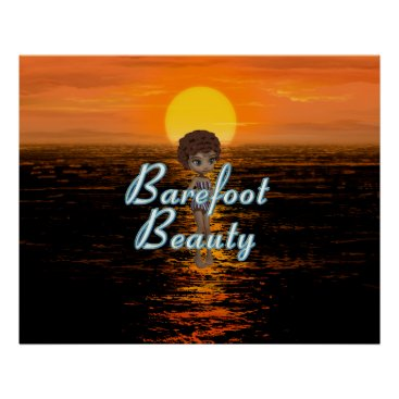 Beach Themed TEE Barefoot Beauty Poster