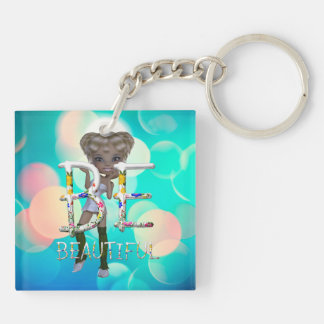 TEE Be Beautiful Double-Sided Square Acrylic Keychain