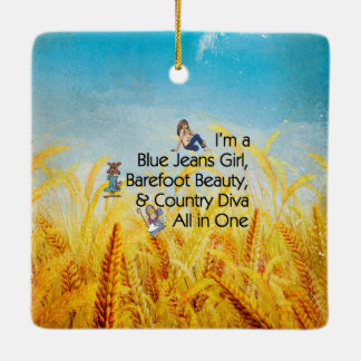 TEE Blue Jeans Girl Ceramic Ornament