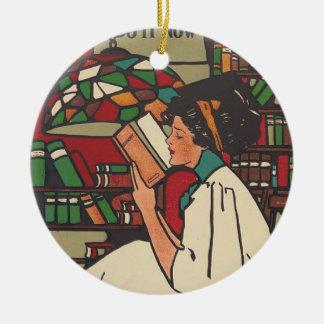 TEE Book Worm Ceramic Ornament