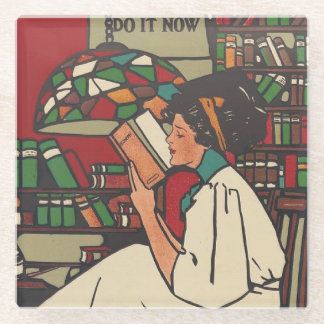 TEE Book Worm Glass Coaster