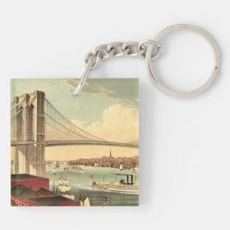 TEE Brooklyn Bridge Double-Sided Square Acrylic Keychain